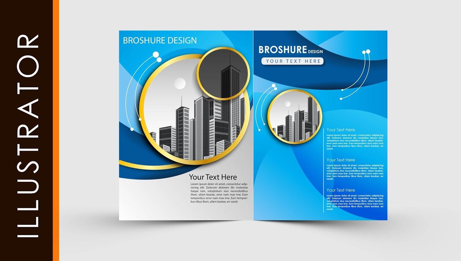 Free Download Adobe Illustrator Template Brochure Two Fold Pertaining To Brochure Templates Adobe Illustrator
