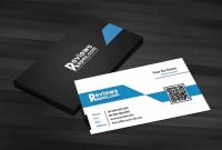Free Download Black  Blue Corporate Business Card Template With Qr intended for Qr Code Business Card Template