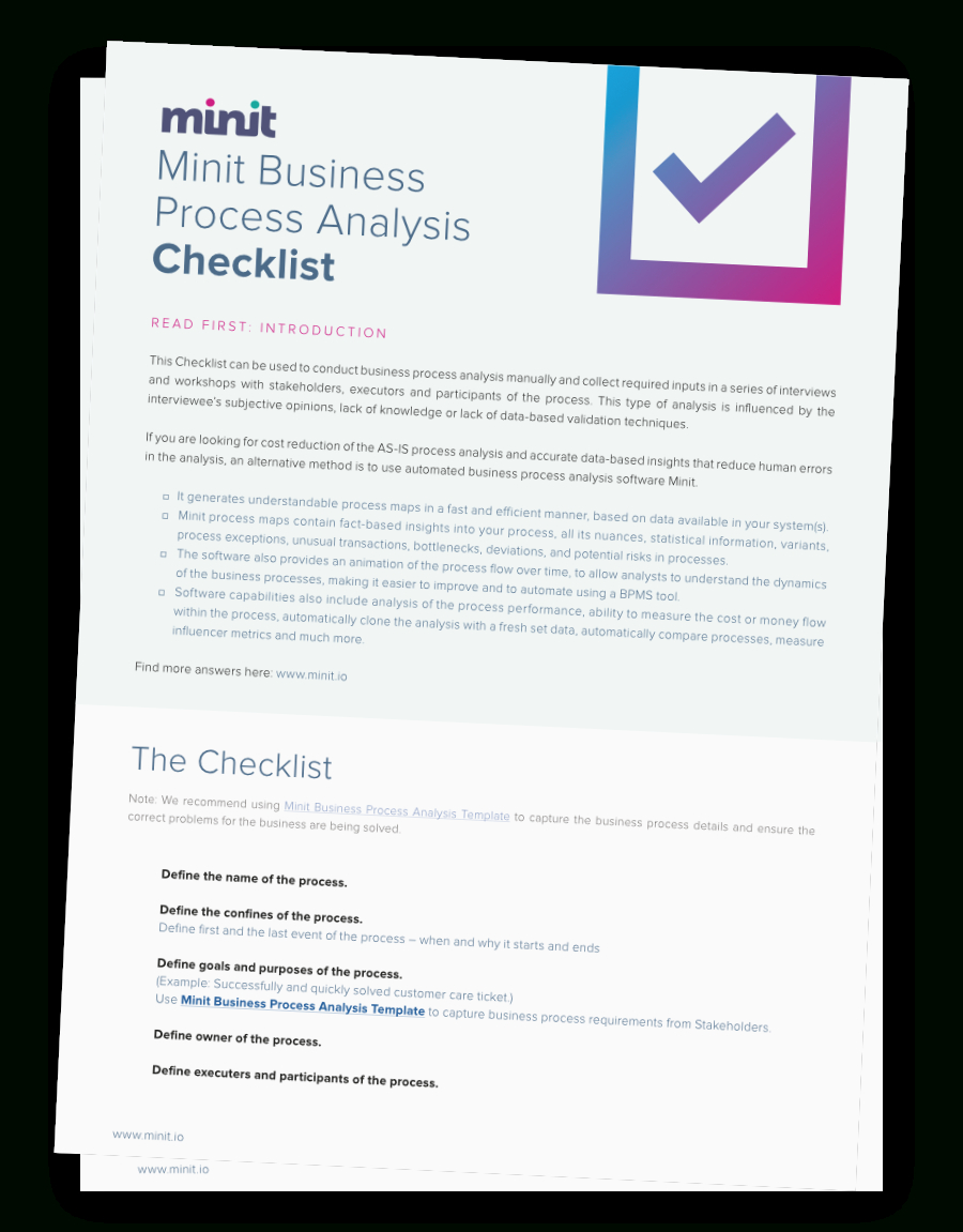 Free Download Business Process Analysis Checklist Within Business Process Assessment Template