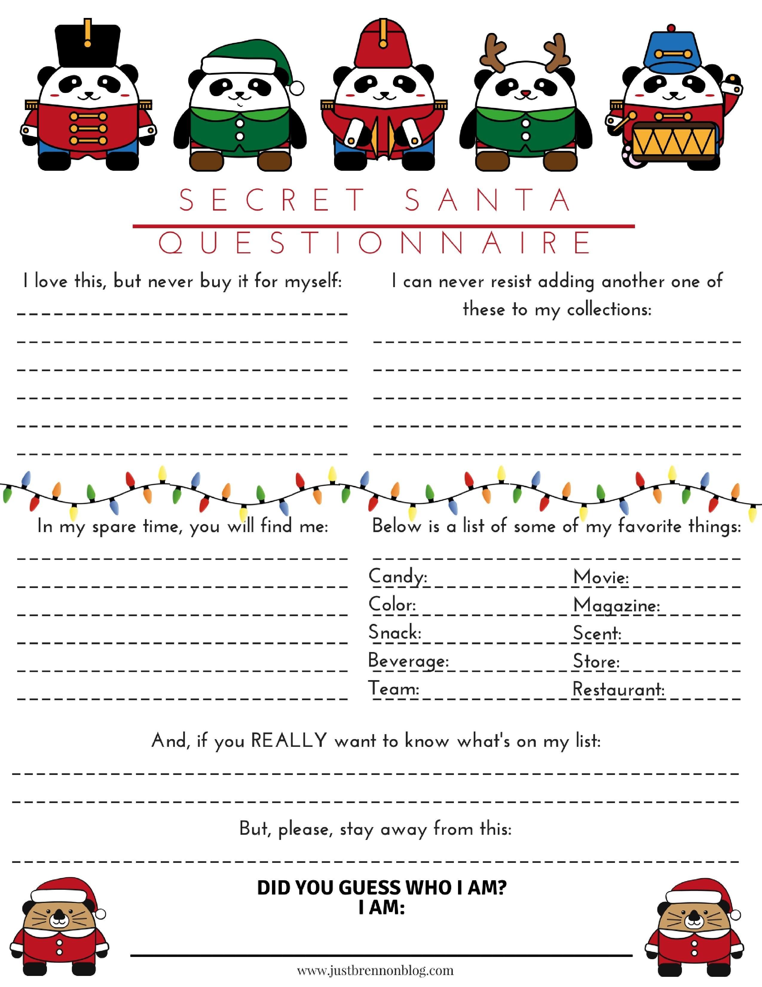 Free Download Secret Santa Questionnaire  Just Brennon Blog Pertaining To Secret Santa Label Template