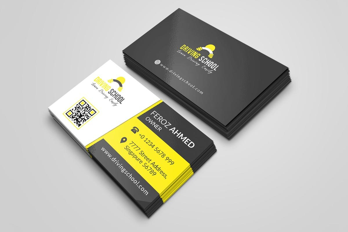 Free Driving School Business Card Psd Template  Creativetacos With Regard To Photoshop Name Card Template