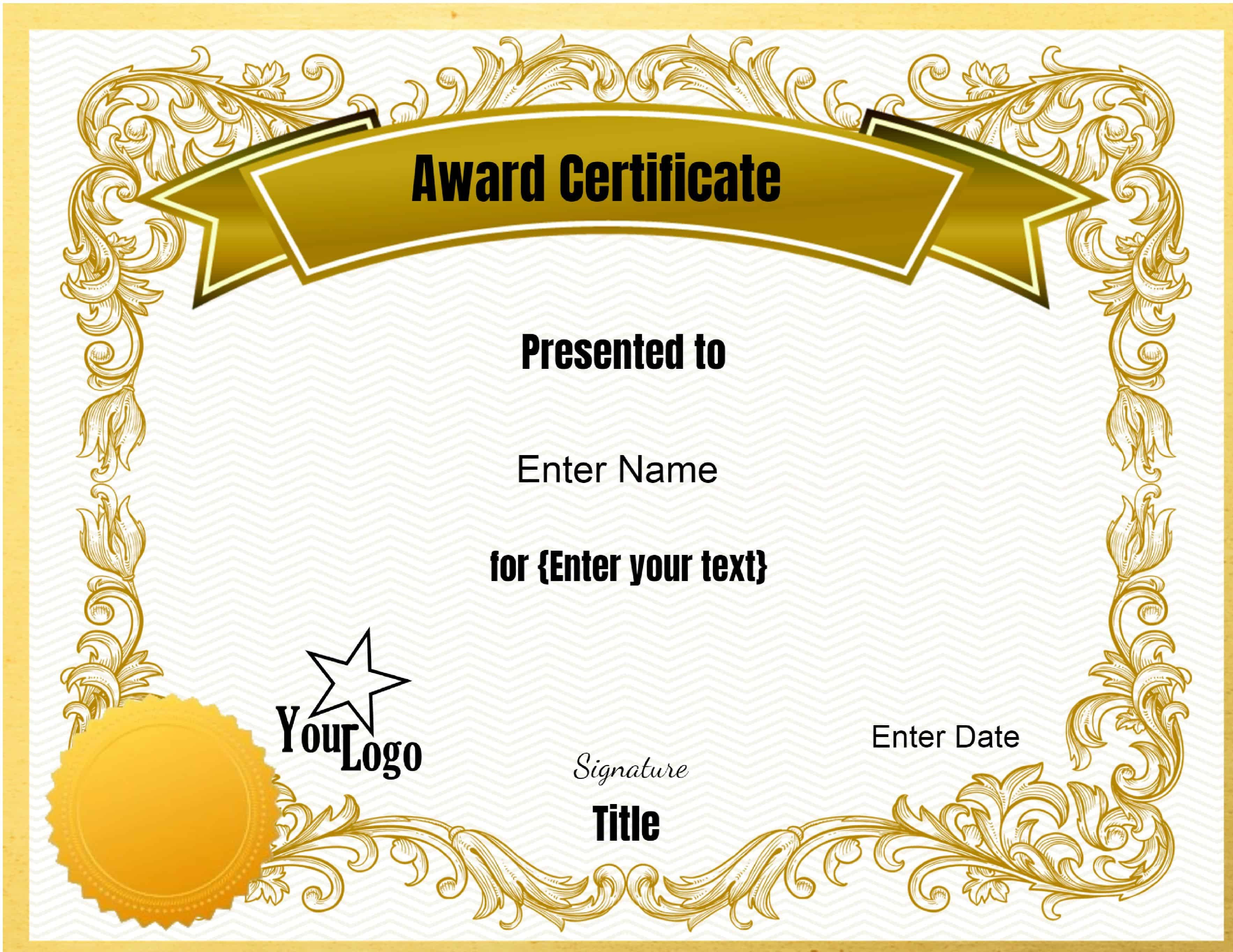 Free Editable Certificate Template  Customize Online  Print At Home Regarding Blank Certificate Of Achievement Template