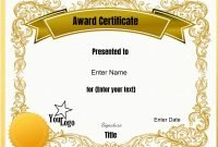 Free Editable Certificate Template  Customize Online  Print At Home with regard to Award Certificate Design Template