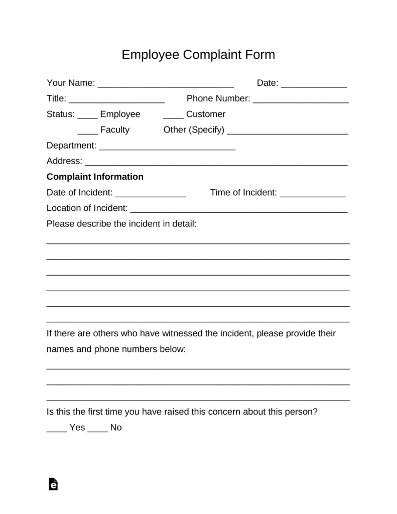 Free Employee Complaint Form  Pdf  Word  Eforms – Free Fillable Forms With Word Employee Suggestion Form Template