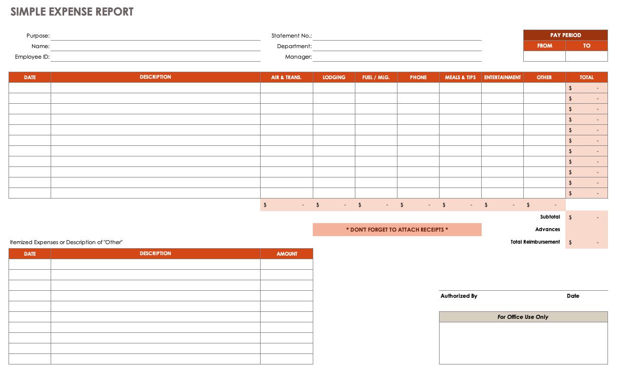 Free Expense Report Templates Smartsheet Regarding Expense Report Spreadsheet Template