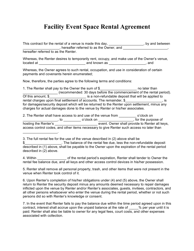 Free Facility Event Space Rental Agreement Template  Pdf  Word Pertaining To Free Facility Rental Agreement Template