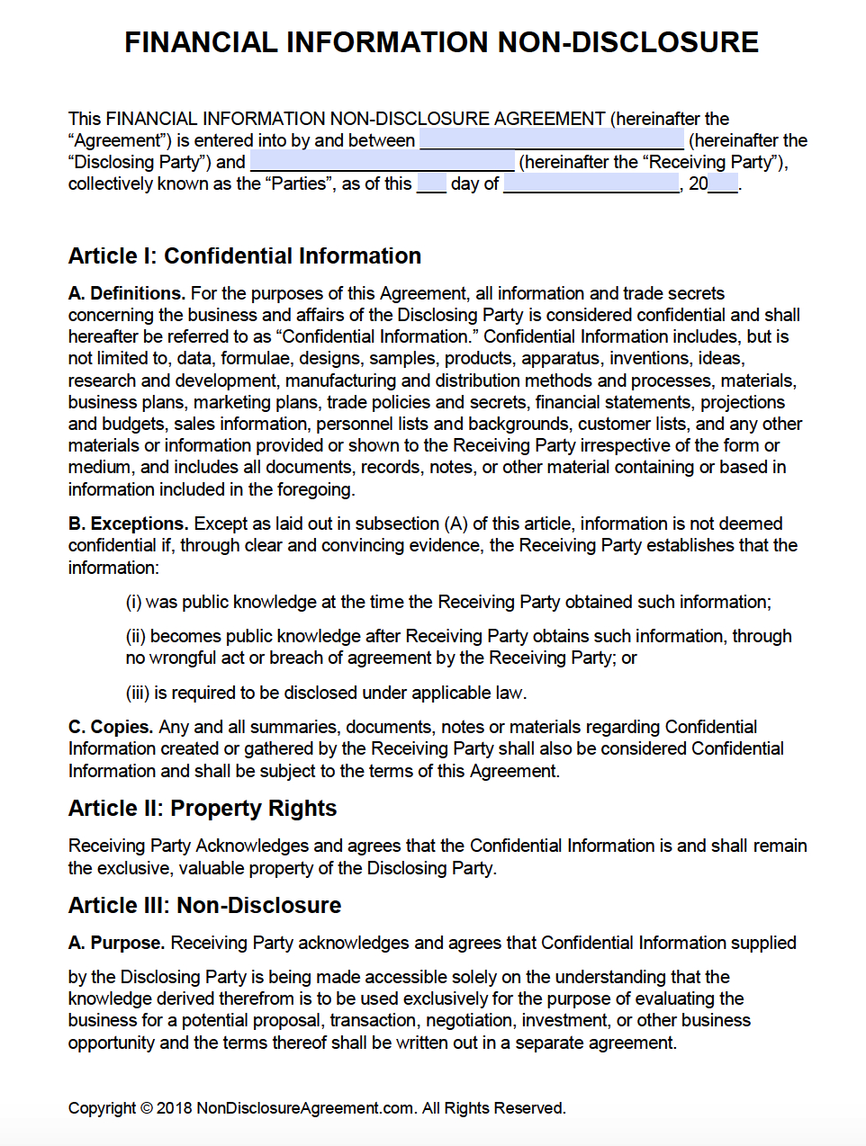 Free Financial Information Nondisclosure Agreement Nda  Pdf Intended For Accountant Confidentiality Agreement Template