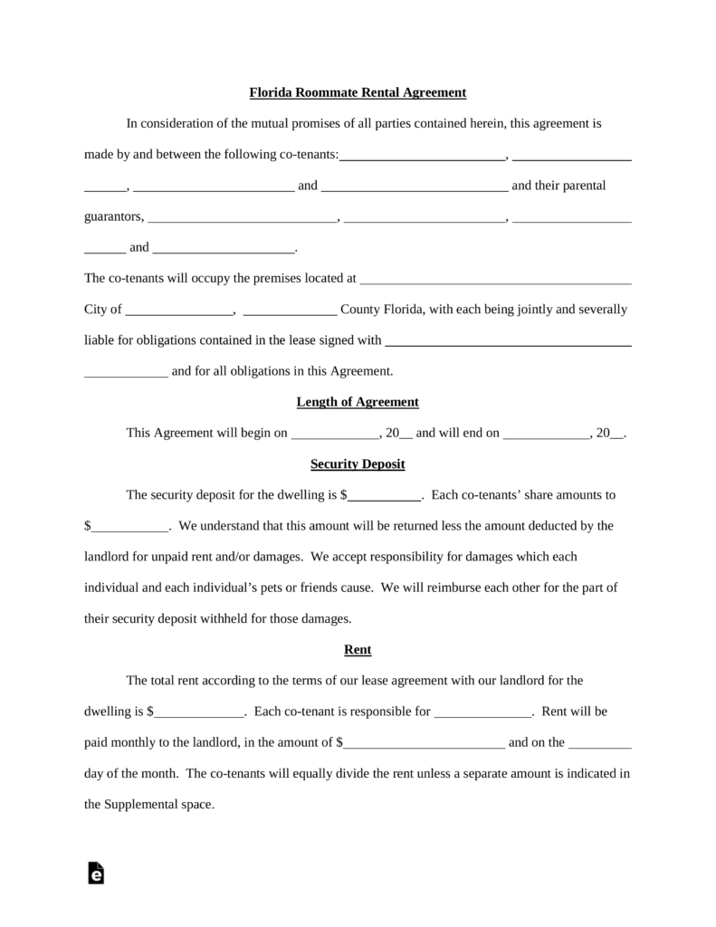 Free Florida Roommate Room Rental Agreement Template  Pdf  Word For Termination Of Lodger Agreement Template