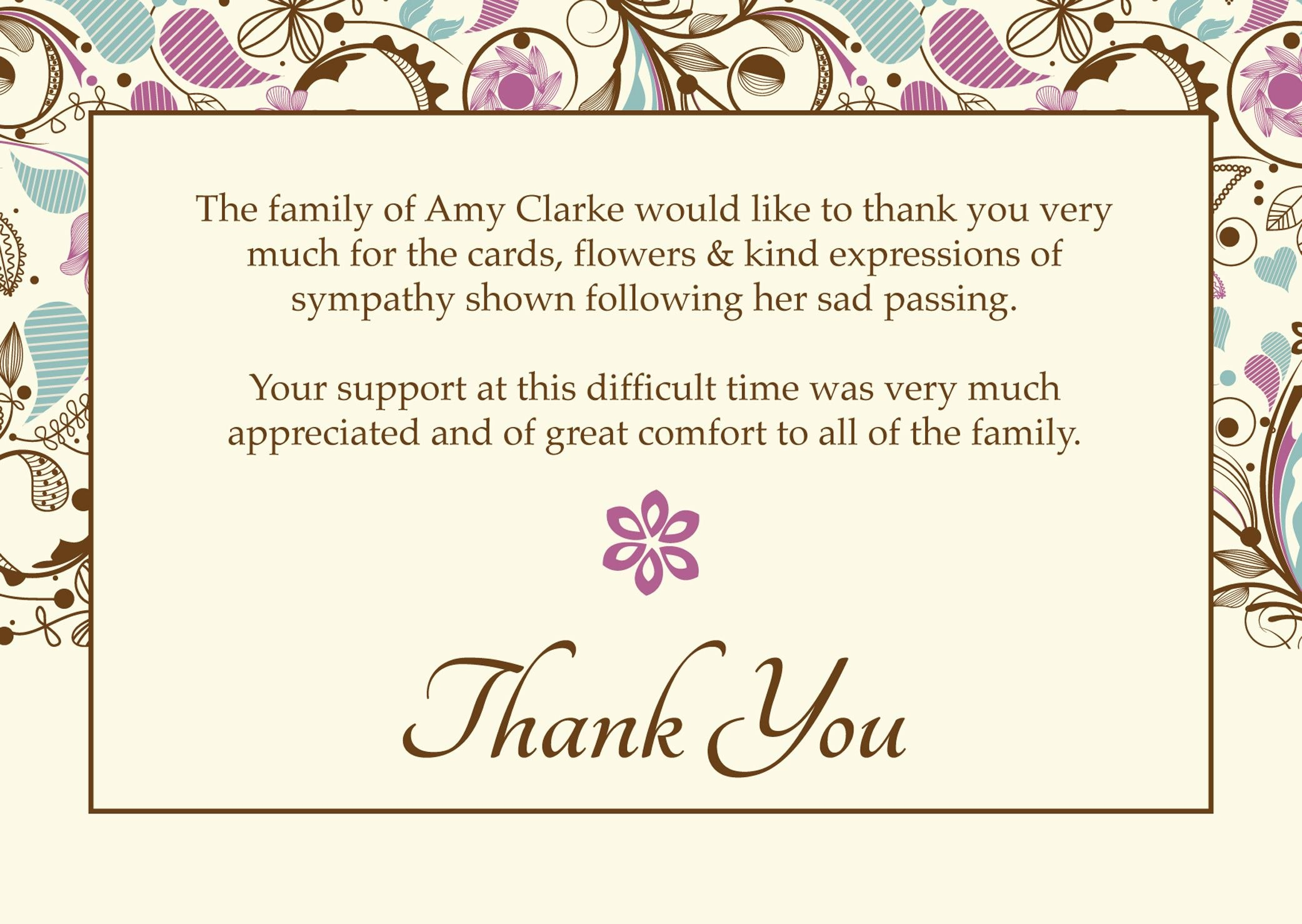 """Free Funeral Thank You Cards Templates Ideas  """"worth Knowing Throughout Sympathy Thank You Card Template"""