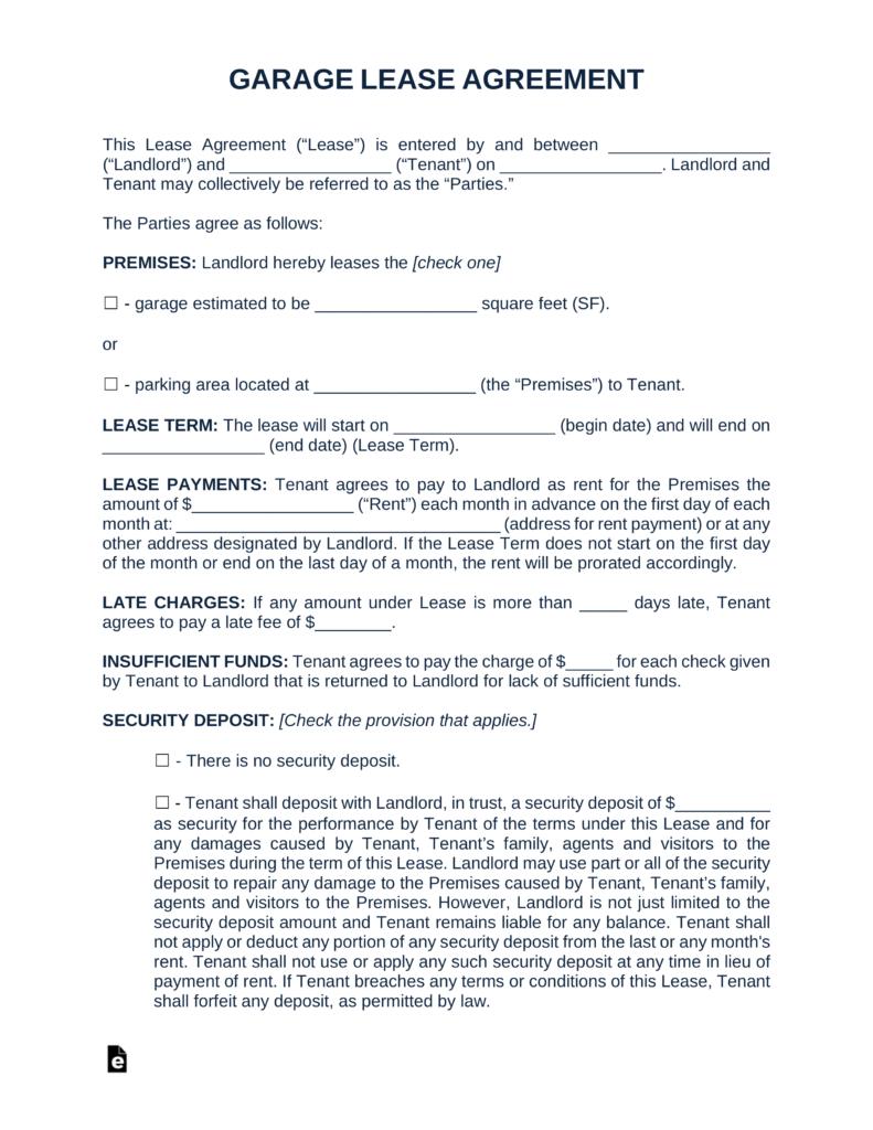 Free Garage Parking Rental Lease Agreement Template  Pdf  Word In Commercial Lease Agreement Template Word