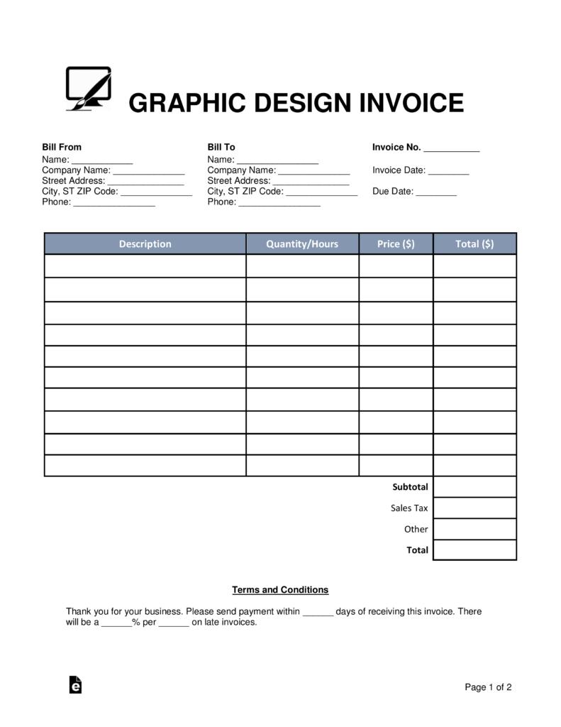 Free Graphic Design Invoice Template  Word  Pdf  Eforms – Free Pertaining To Graphic Design Invoice Template Pdf