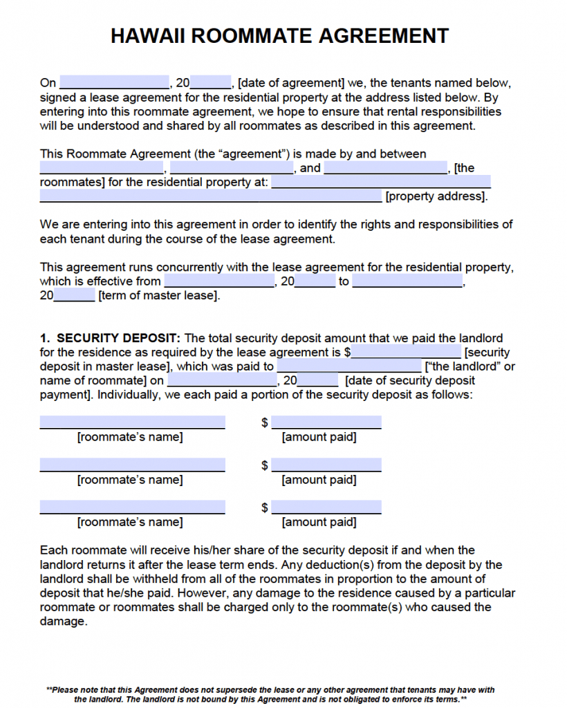 Free Hawaii Roommate Agreement Template – Pdf – Word With Free Roommate Lease Agreement Template