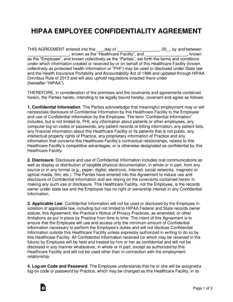 Free Hipaa Employee Confidentiality Agreement  Pdf  Word  Eforms With Regard To Word Employee Confidentiality Agreement Templates