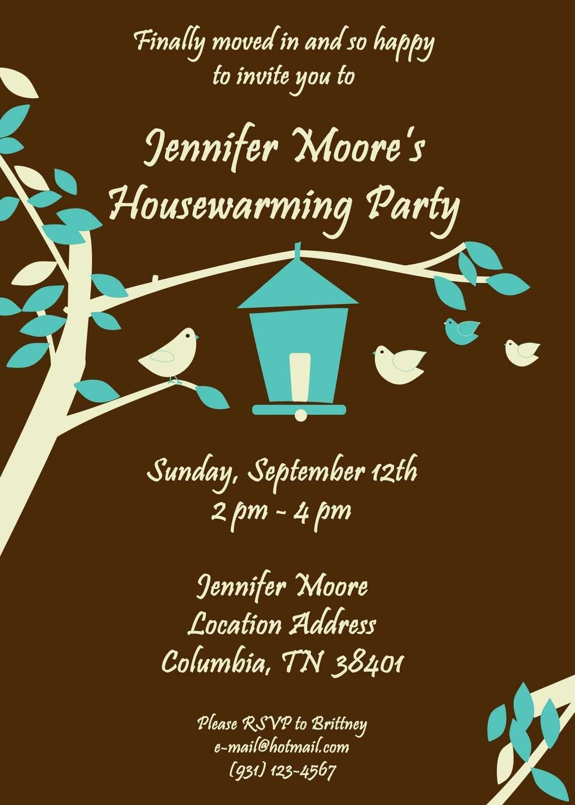 Free Housewarming Invitations Ideas  Little Bird Brown Housewarming In Free Housewarming Invitation Card Template