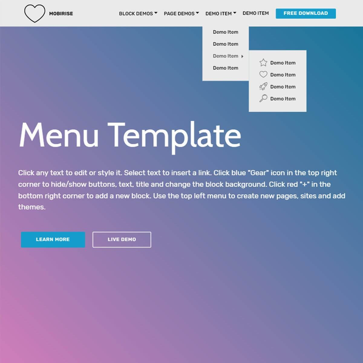 Free Html Bootstrap Menu Template – Xyztemplates With Free Html Menu Templates