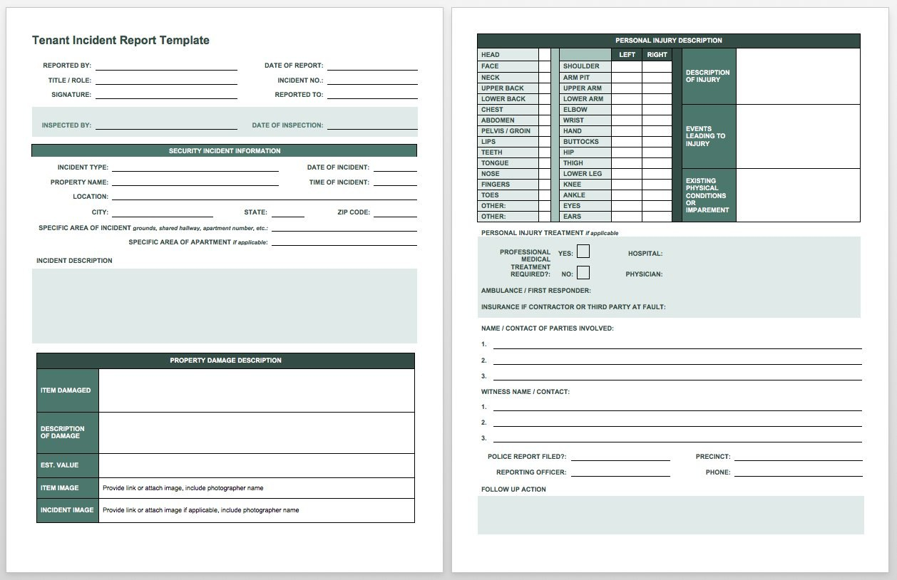 Free Incident Report Templates  Forms  Smartsheet Pertaining To Car Damage Report Template
