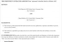 Free Independent Contractor Agreement  Create Download And Print in Contract For Service Agreement Template