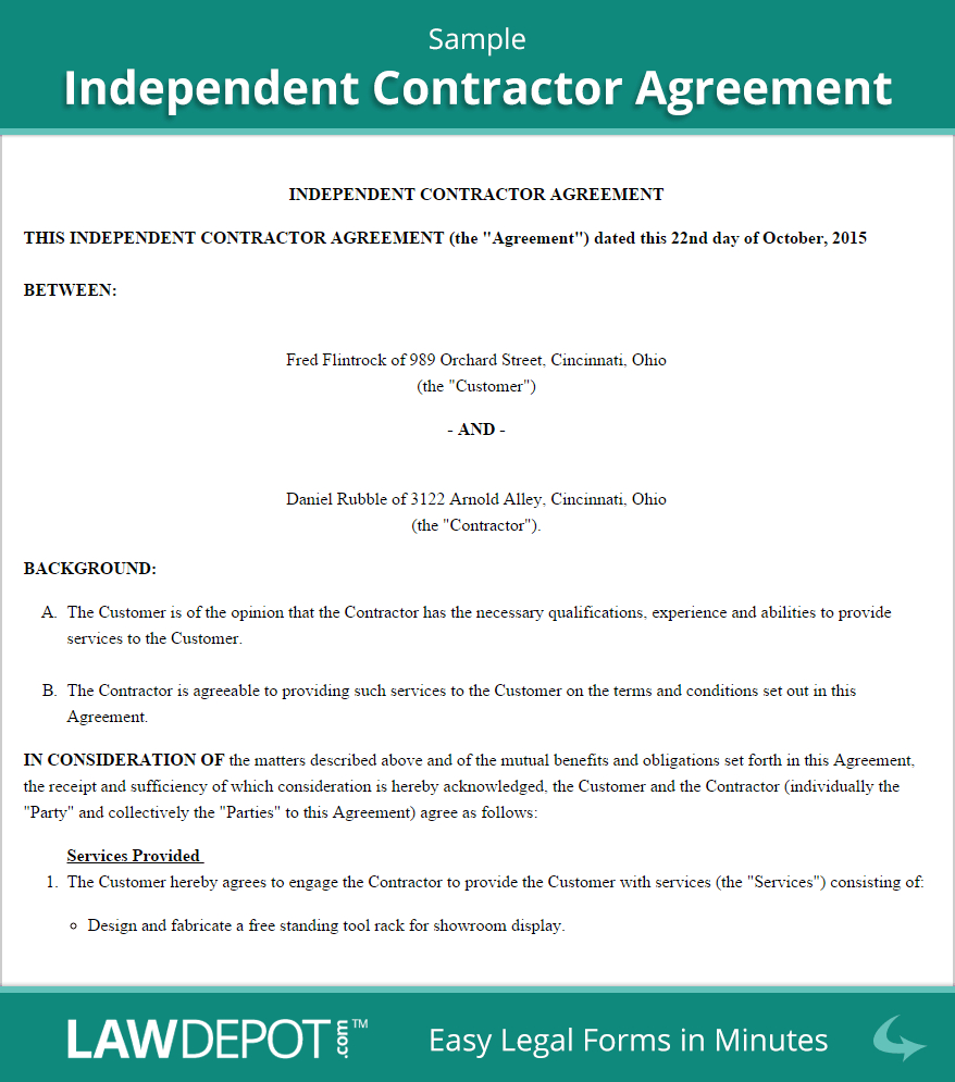 Free Independent Contractor Agreement  Create Download And Print Throughout Freelance Trainer Agreement Template