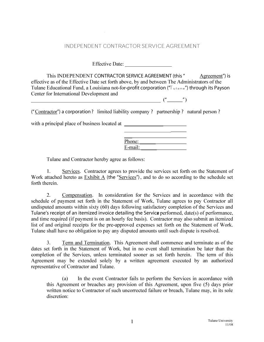 Free Independent Contractor Agreement Forms  Templates Throughout Training Agreement Between Employer And Employee Template