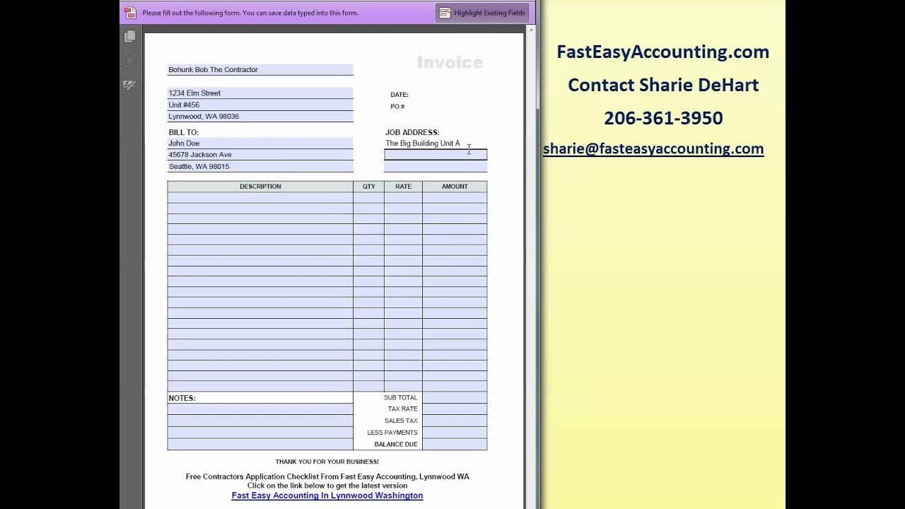 Free Invoice Template For Contractorsfast Easy Accounting  Youtube With Regard To Contractor Invoices Templates