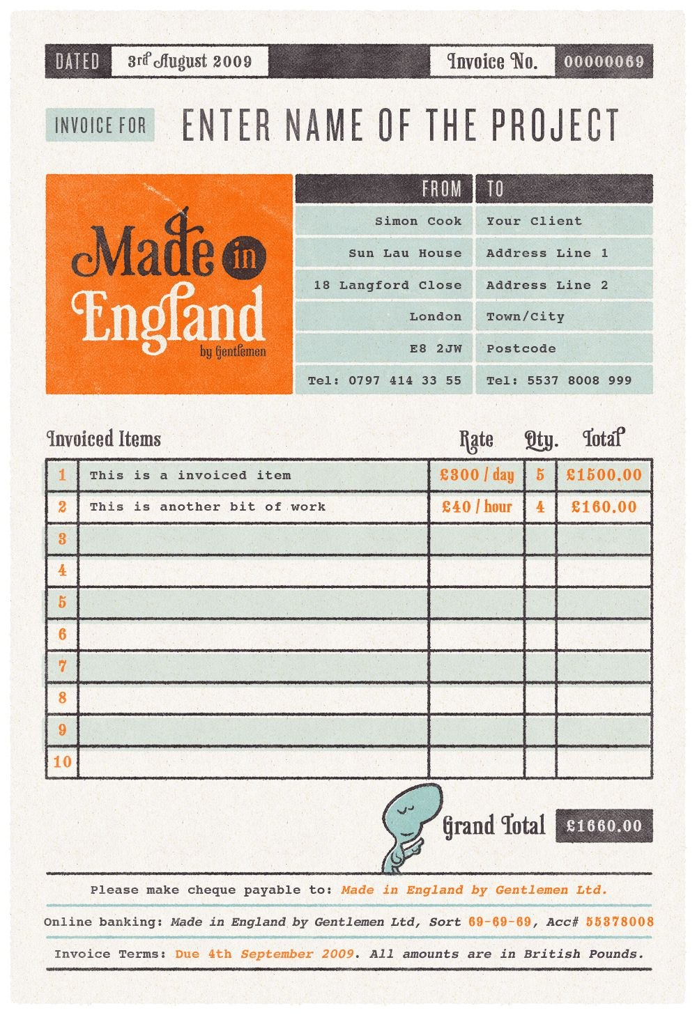 Free Invoice Template For Designers  Illustrators  Website Design Pertaining To Media Invoice Template