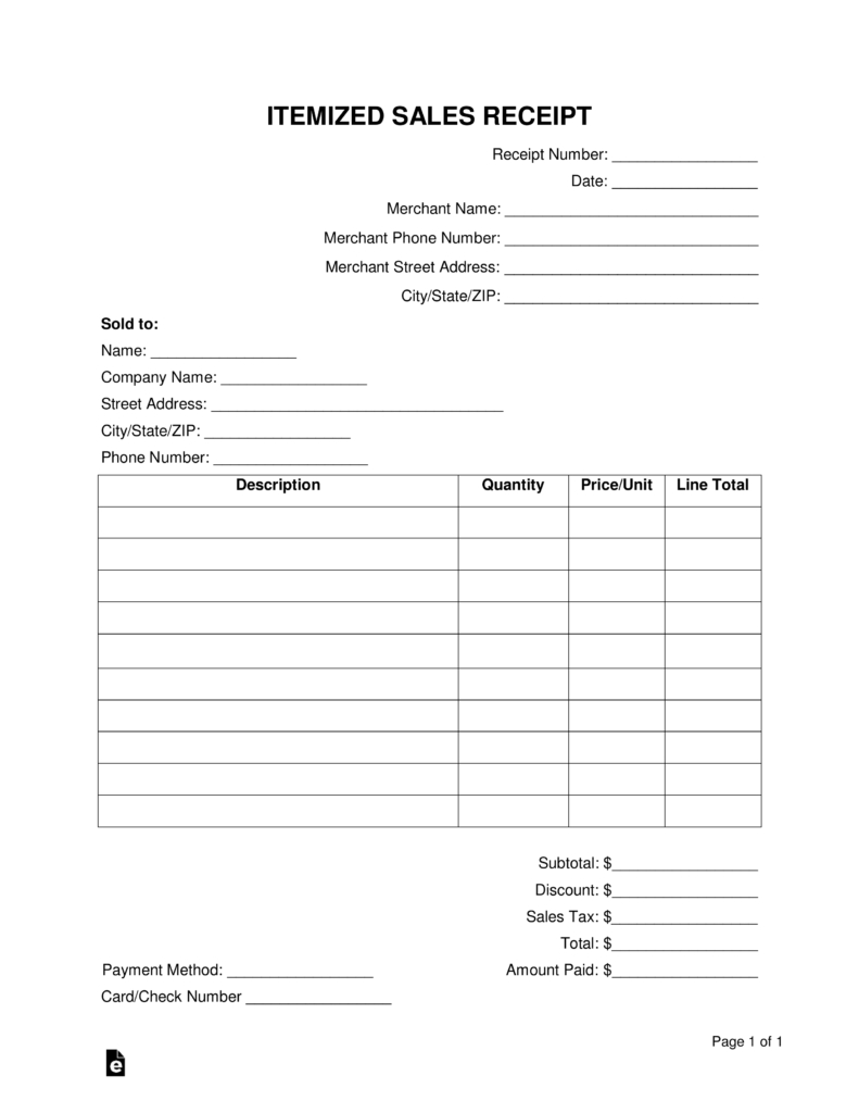 Free Itemized Receipt Template  Word  Pdf  Eforms – Free Fillable In Itemized Invoice Template