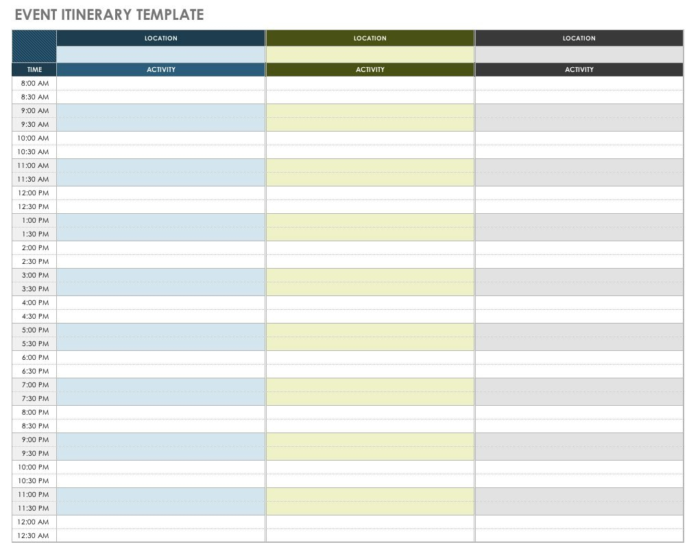 Free Itinerary Templates  Smartsheet Intended For Blank Trip Itinerary Template