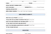 Free Job Application Form  Standard Template  Pdf  Word  Eforms with Job Application Template Word Document