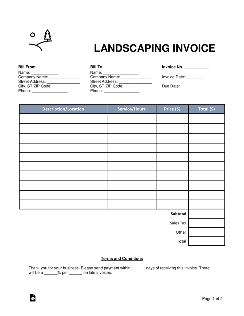 Free Landscaping Invoice Template  Word  Pdf  Eforms – Free Pertaining To Gardening Invoice Template