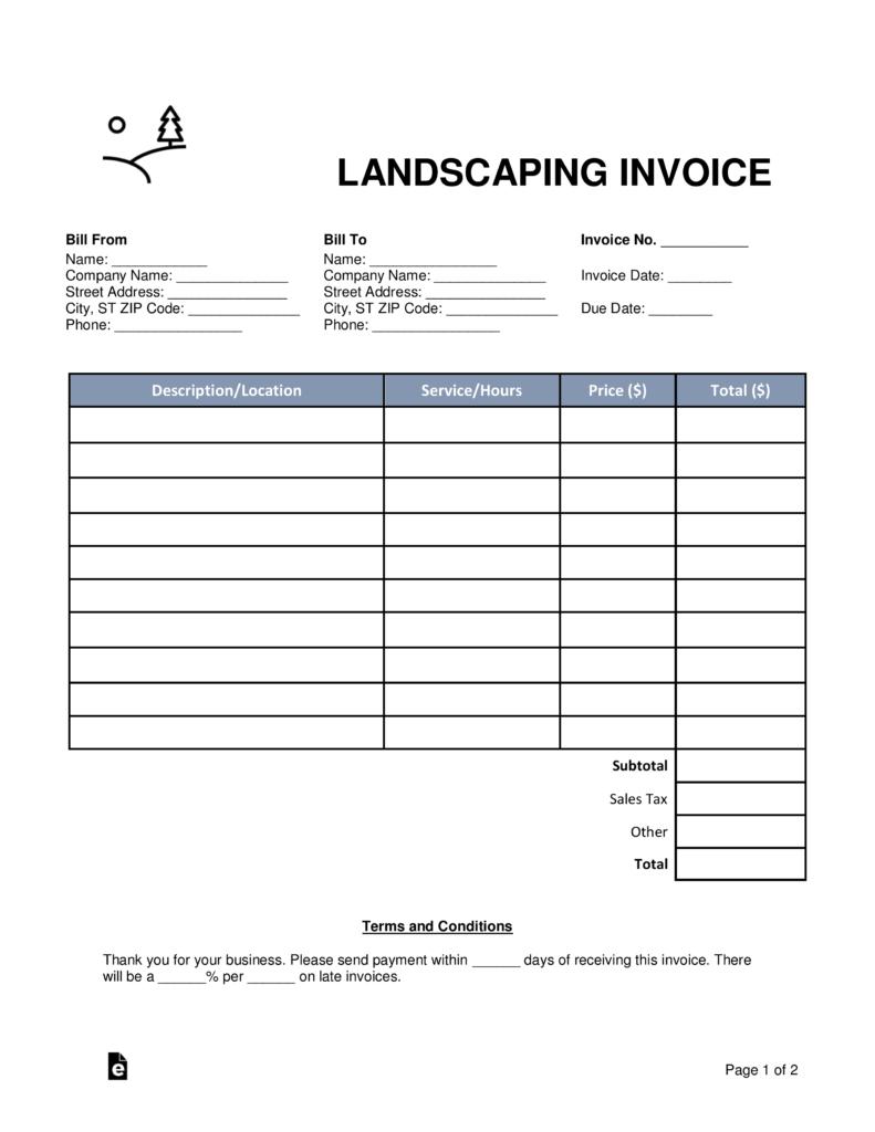 Gardening Invoice Template
