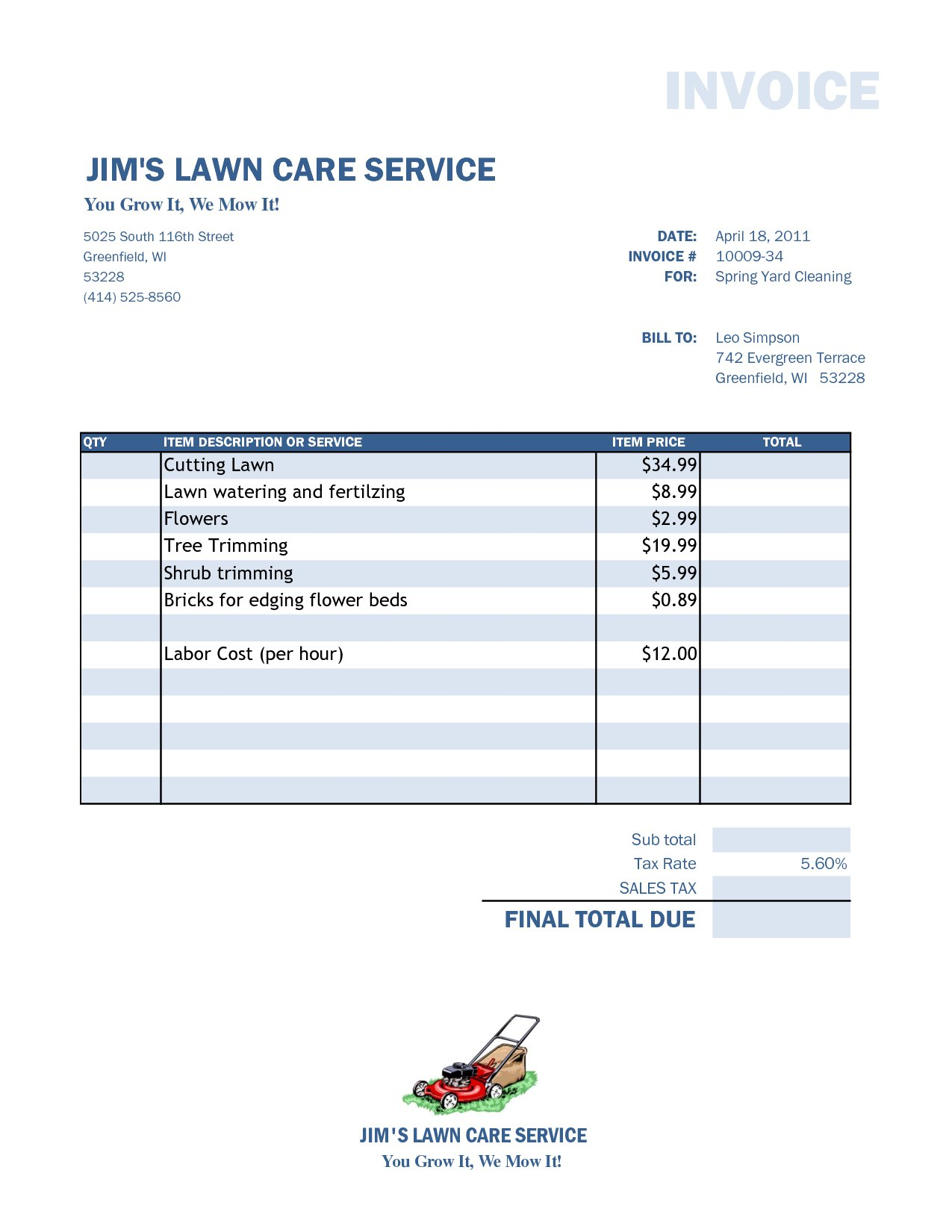 Free Lawn Care Invoice Template Lopnqvm Kjpzln Service Proposal In Lawn Care Invoice Template Word