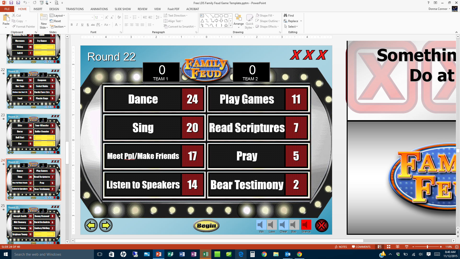Free Lds Family Feud Game Template Screen Shot  Church  Family With Regard To Family Feud Game Template Powerpoint Free