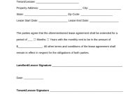 Free Lease Extension Addendum Template  Residential  Commercial intended for Renewal Of Tenancy Agreement Template