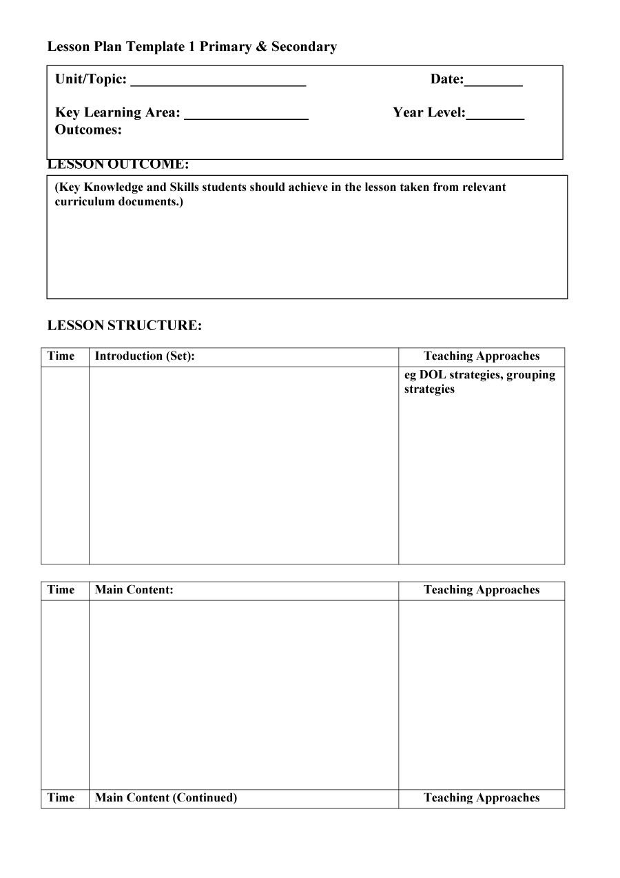 Free Lesson Plan Templates Common Core Preschool Weekly Intended For Blank Preschool Lesson Plan Template