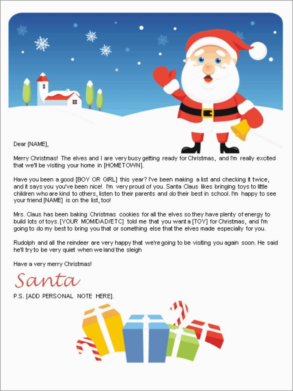 Free Letter From Santa Template Word Amazing Letter From Santa For Santa Letter Template Word