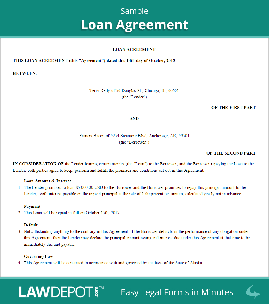 Free Loan Agreement  Create Download And Print  Lawdepot Us Pertaining To Collateral Loan Agreement Template