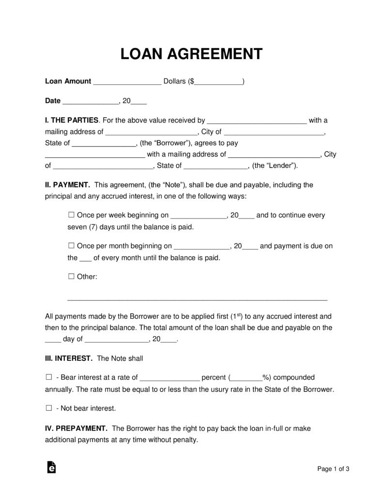 Free Loan Agreement Templates  Pdf  Word  Eforms – Free Fillable Regarding Blank Loan Agreement Template