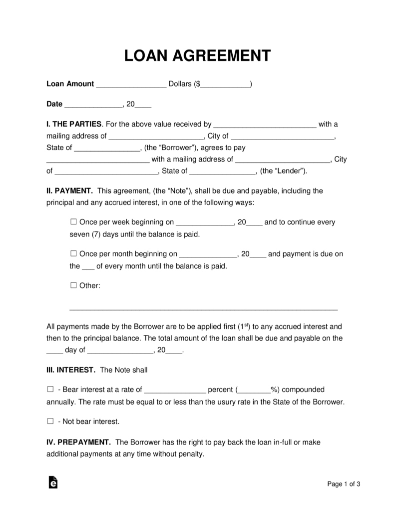 Free Loan Agreement Templates  Pdf  Word  Eforms – Free Fillable With Commercial Loan Agreement Template