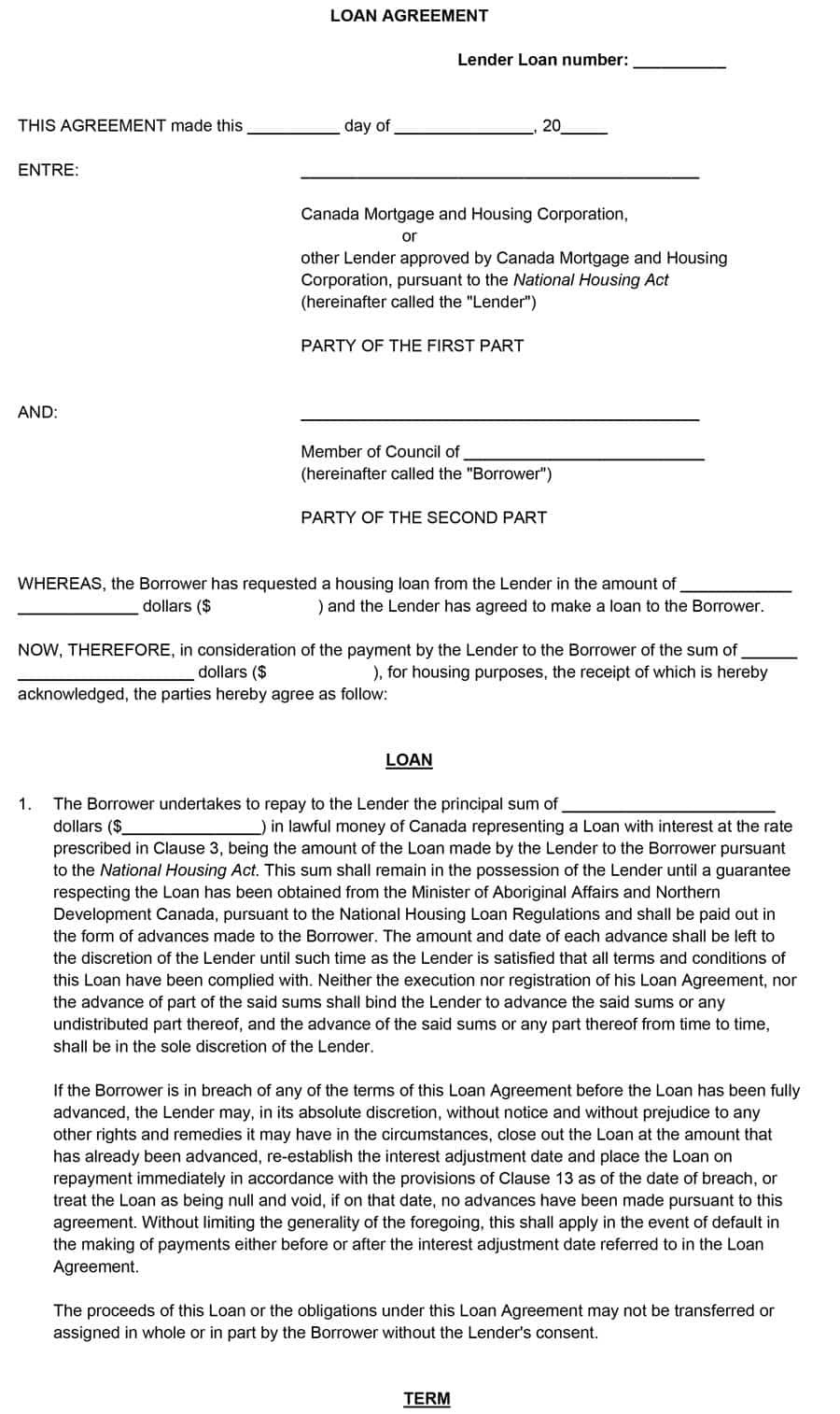 Free Loan Agreement Templates Word  Pdf ᐅ Template Lab Regarding Consumer Loan Agreement Template