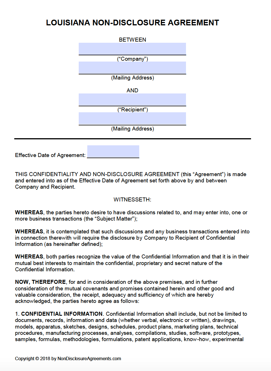 Free Louisiana Nondisclosure Agreement Nda Template  Pdf  Word Intended For Non Disclosure Agreement Template For Research