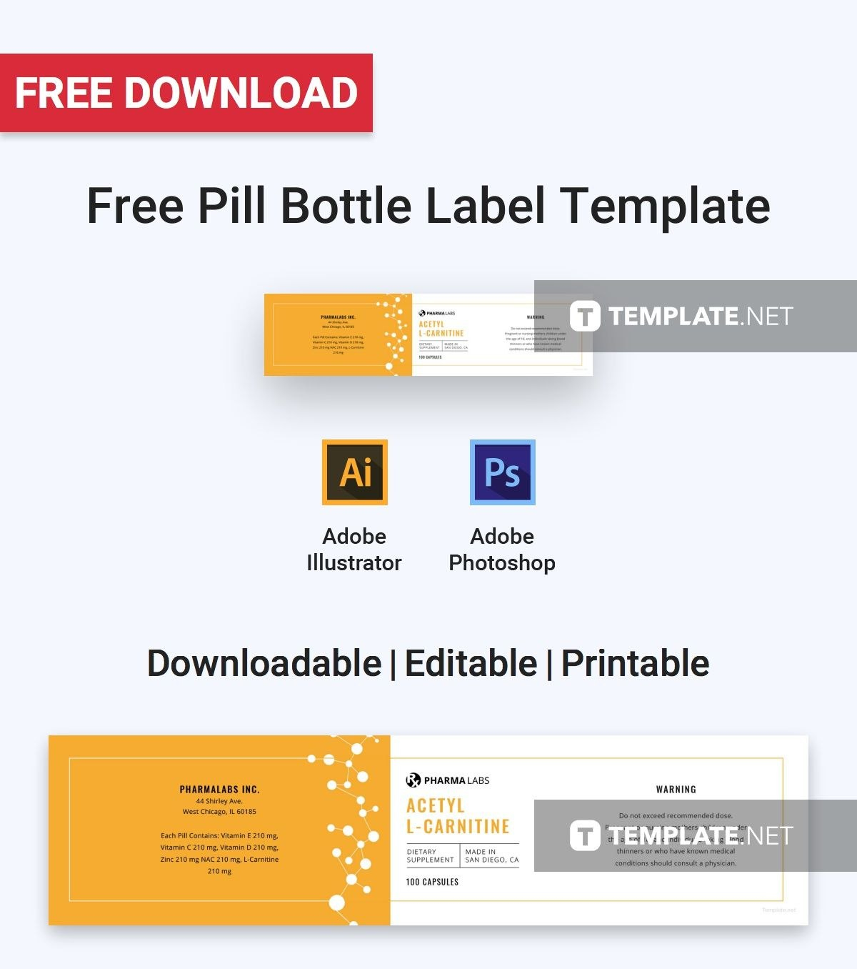 Free Medical Pill Bottle Label  Label Templates  Designs Regarding Prescription Bottle Label Template