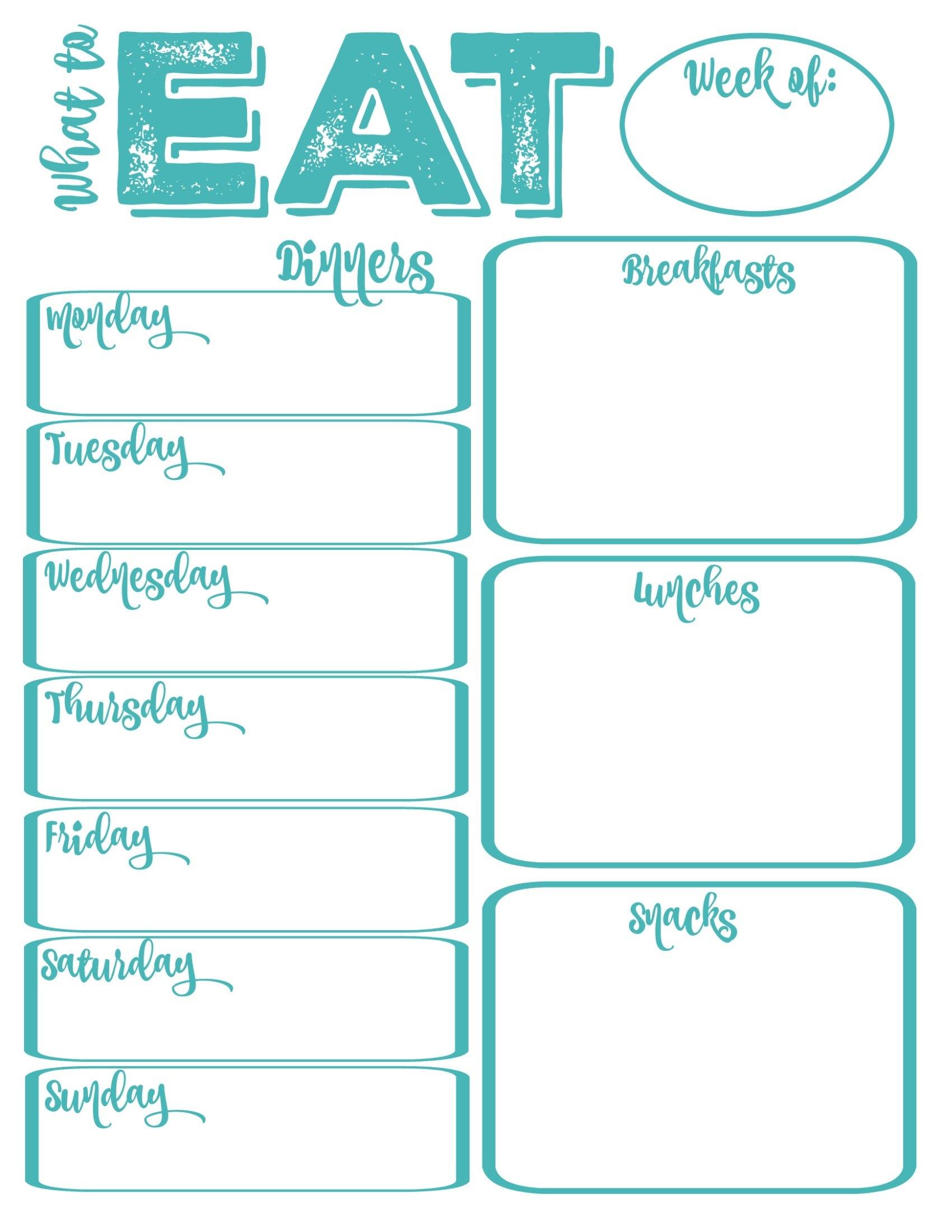 Free Menu Planner Template Pantry Makeover Printable Weekly Meal With Regard To Weekly Dinner Menu Template