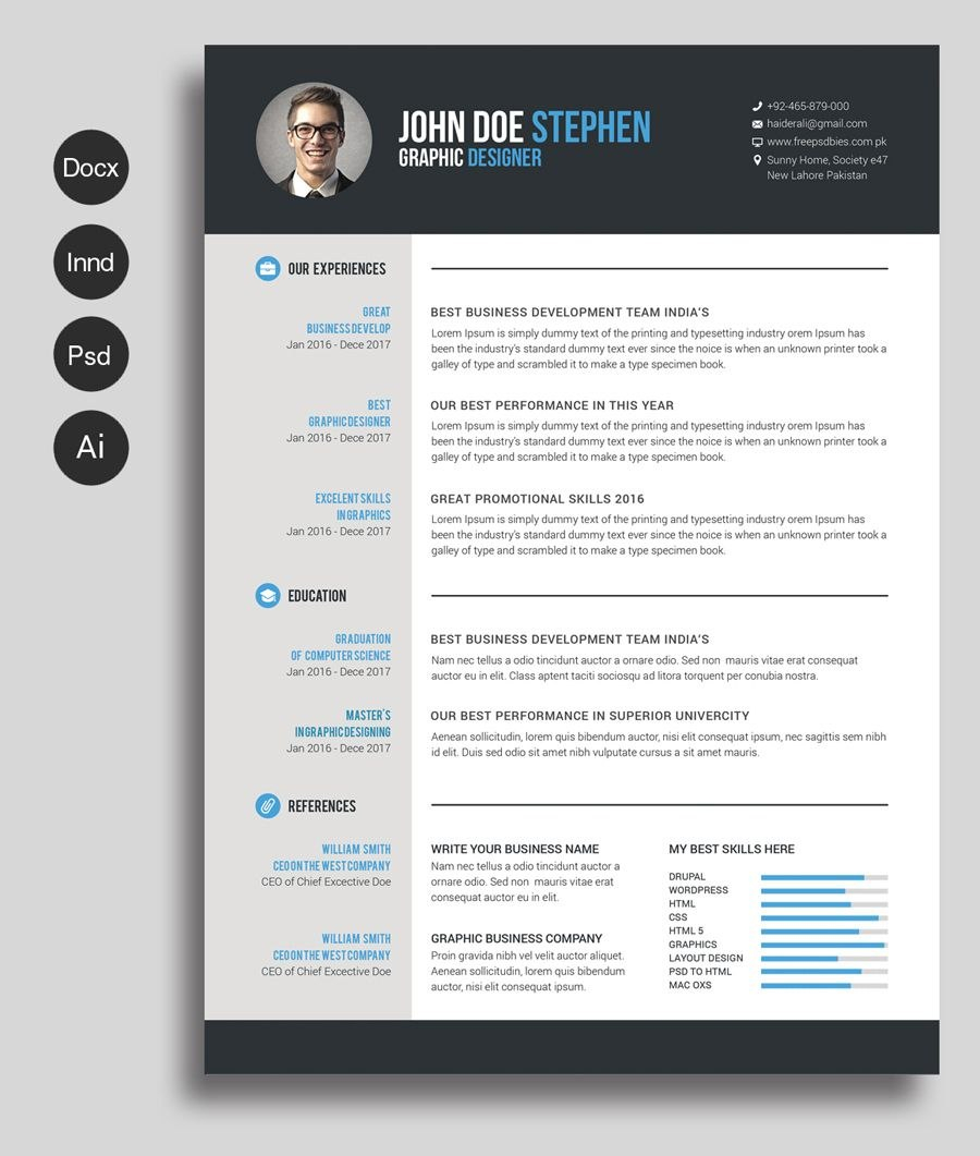 Free Msword Resume And Cv Template  Collateral Design  Free Throughout Microsoft Word Resume Template Free