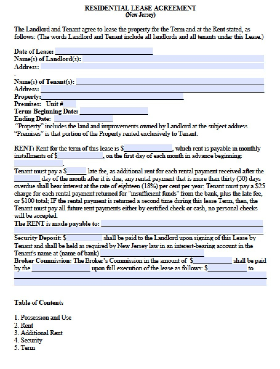 Free New Jersey Standard Residential Lease Agreement Template  Pdf For New Jersey Residential Lease Agreement Template