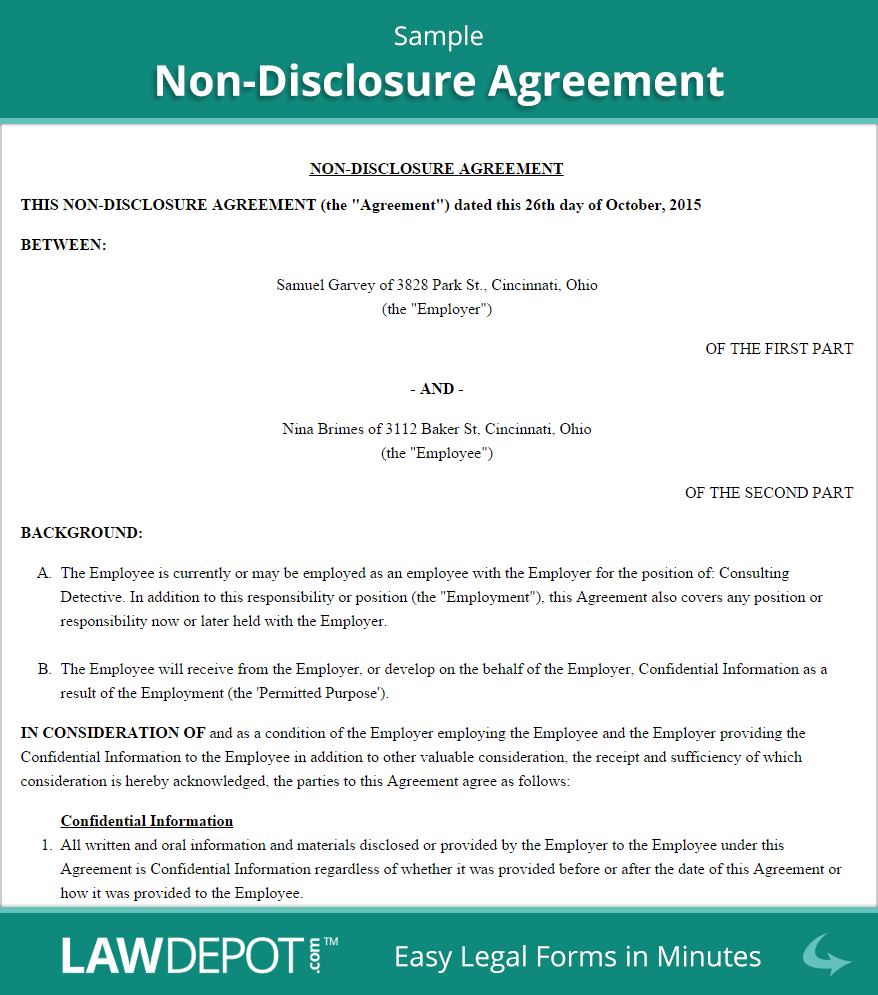 Free Nondisclosure Agreement  Create Download And Print In Financial Confidentiality Agreement Template