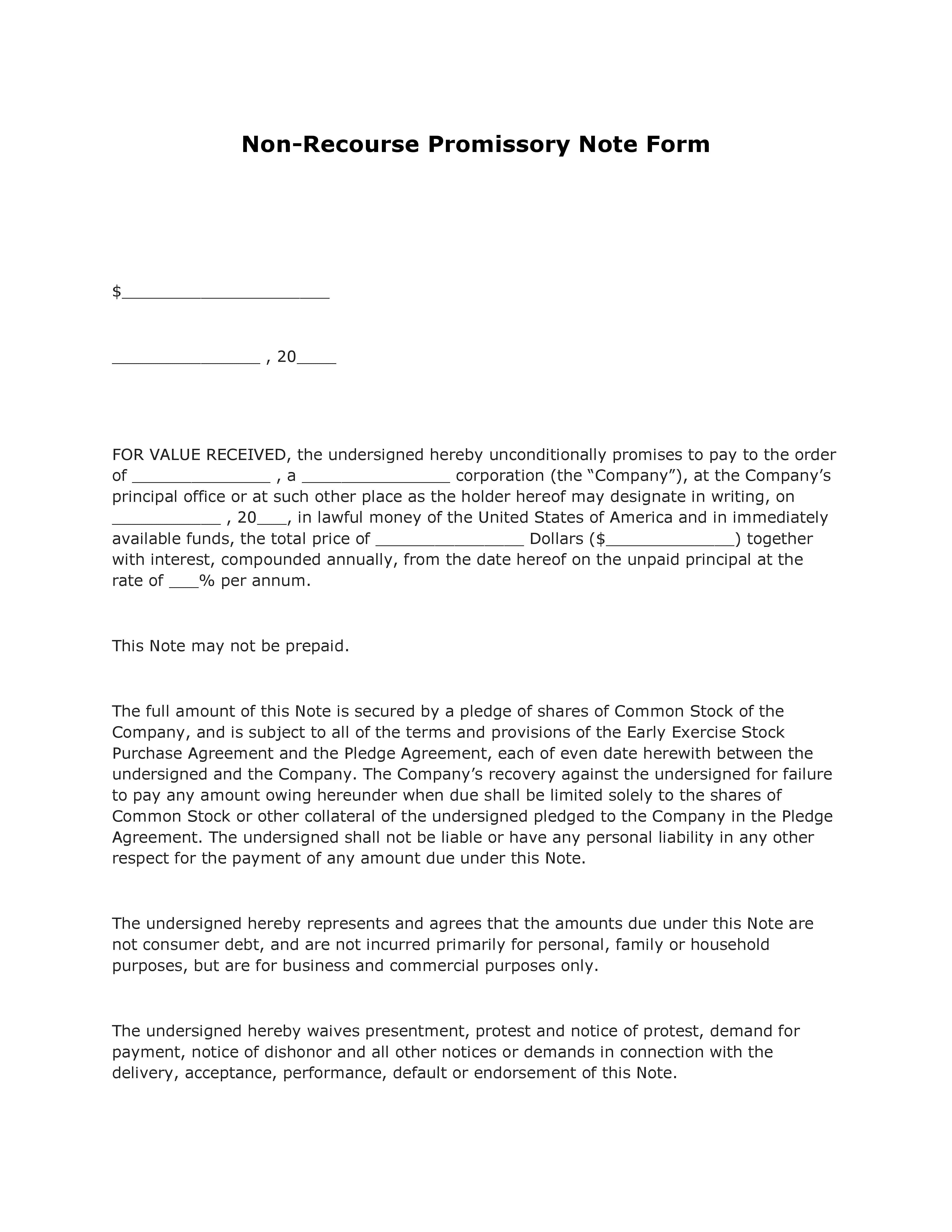 Free Nonrecourse Promissory Note Form  Pdf Template  Form Download With Non Recourse Loan Agreement Template