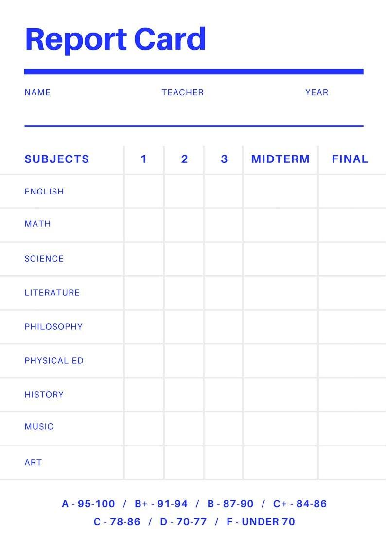 Free Online Report Card Maker Design A Custom Report Card In Canva Pertaining To Report Card Format Template