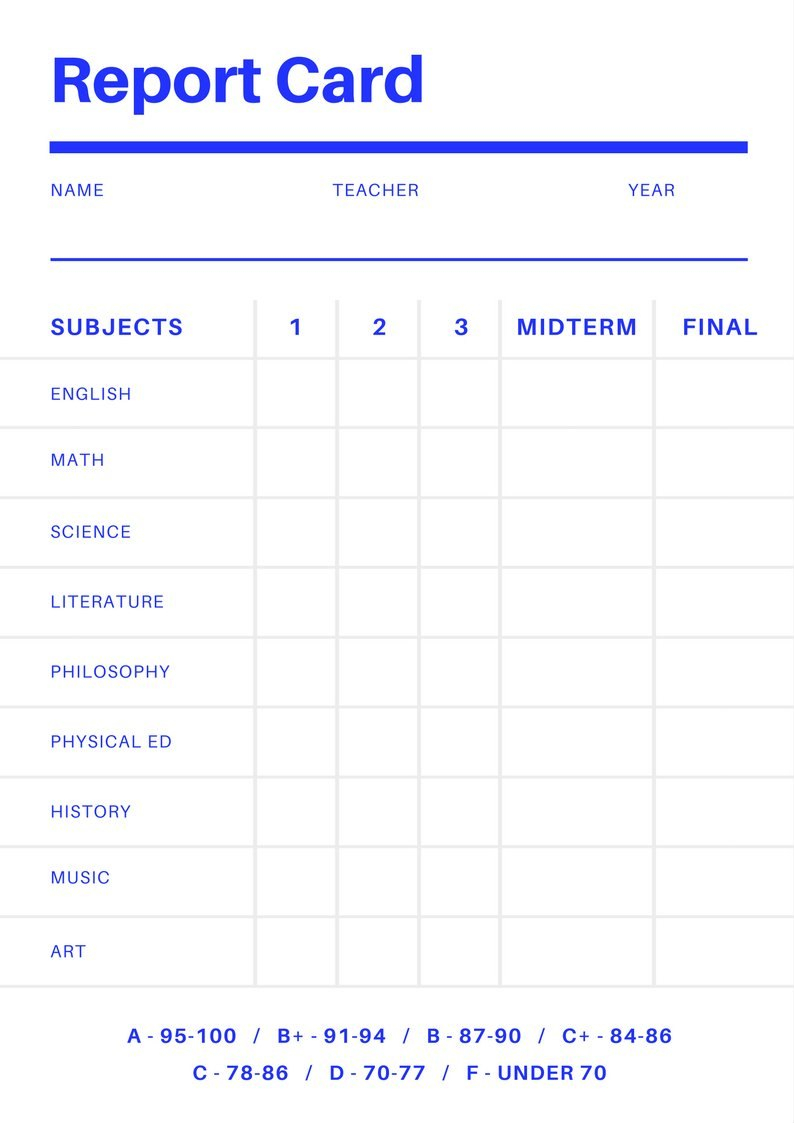 Free Online Report Card Maker Design A Custom Report Card In Canva With College Report Card Template