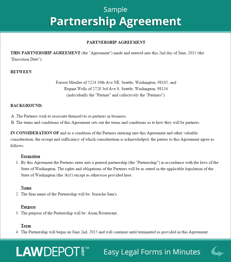Free Partnership Agreement  Create Download And Print  Lawdepot Us With Free Simple General Partnership Agreement Template