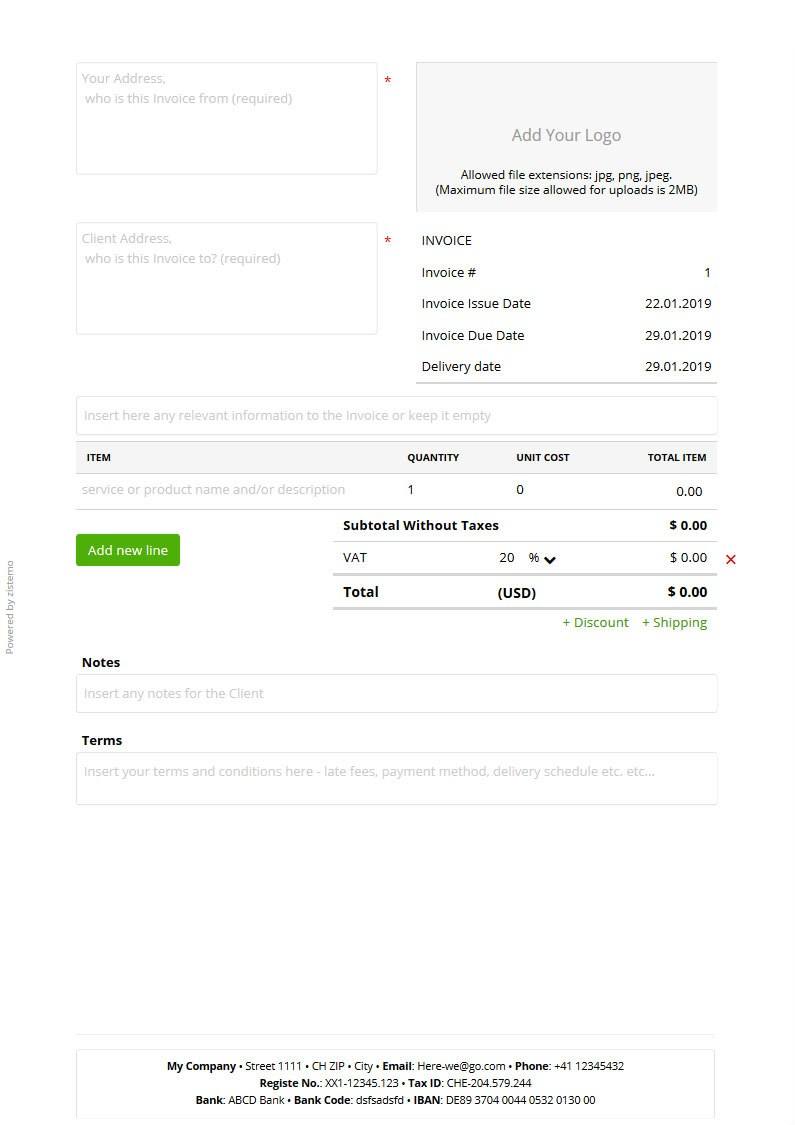 Free Pdf Invoice Template  Zistemo In I Need An Invoice Template